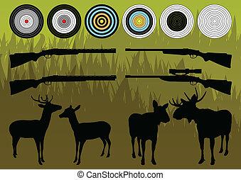 麋, 麋, 黑色半面畫像, 插圖, 鹿, 範圍, 矢量, 彙整, 背景, 荒野, 射擊, 槍