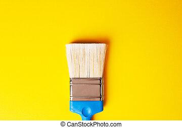 黃色的背景, 刷子, 修理, 畫, 集中, concept.