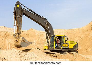 黃色, 建築工地, 挖掘機