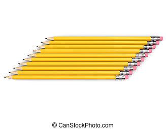 黃色, 邊, 鉛筆, 組, 堆積, 石墨, neatly
