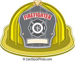 黃色, 鋼盔, 消防人員