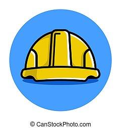 黃色, helmet., 建設