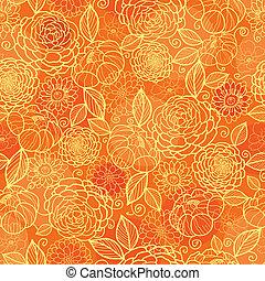 黃金, 圖案, seamless, 結構, 橙色 背景, 植物