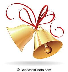 黃金, 婚禮, 弓, 聖誕節, 紅色, 鈴, 或者