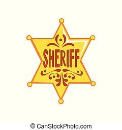 黃金, 星, 郡長, 插圖, 矢量, 背景, 六角形, 徽章, 白色