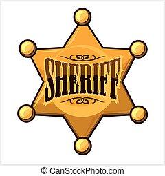 黃金, 星, 郡長, 被隔离, 插圖, 矢量, 白色, 徽章