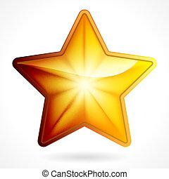 黃金, 星, 10, eps, 背景, 白色, 圖象