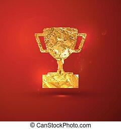 黃金, 杯子, 插圖, 金屬, 箔, 矢量, t, 冠軍