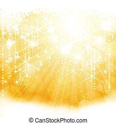 黃金, 爆發, 光, 摘要, 閃耀, 光, 星, 模糊