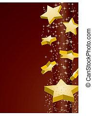 黃金, 矢量, 布朗, 插圖, 背景, 星, 射擊