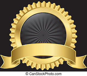 黃金, 矢量, 標簽, 帶子