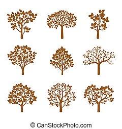 黃金, 矢量, illustration., 彙整, 樹。