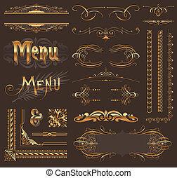 黃金, 舞台裝飾, 元素, &, 設計, 裝飾華麗, 頁