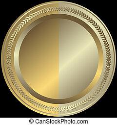 黃金, 銀色, (vector), 盤子