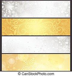 黃金, 集合, 冬天, 坡度, 銀色, 旗幟