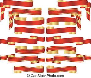 黃金, 集合, 紙卷, 口音, 旗幟, 紅色