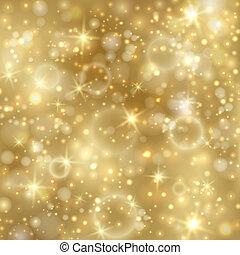 黃金, twinkly, 星, 背景, 光