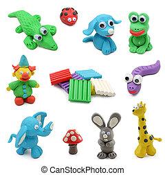 黏土, 玩, 做, 動物, 孩子的