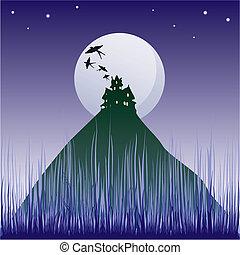 黑暗, 城堡, 插圖, silho