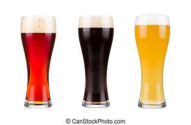 黑暗, 被隔离, 紅色, 啤酒, 貯藏啤酒, 集合, 背景, 白色, 眼鏡