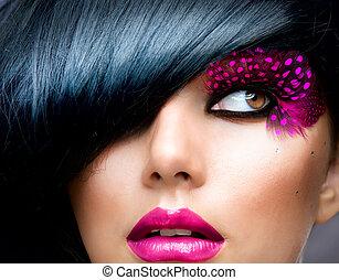 黑發淺黑膚色女子, 發型, 時裝, portrait., 模型