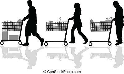 黑色半面畫像, 人們, 購物, 在外
