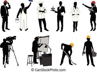 黑色半面畫像, 各種各樣, 彙整, 職業