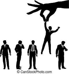 黑色半面畫像, 商業界人士, 手, 組, selects, 人