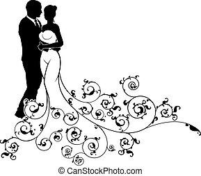 黑色半面畫像, 圖案, 摘要, 新郎, 新娘, 婚禮