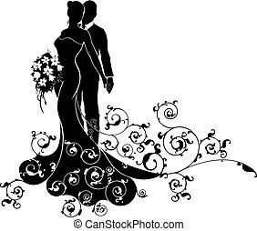黑色半面畫像, 圖案, 新郎, 新娘, 使服裝交融