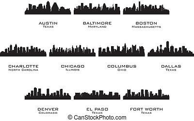 黑色半面畫像, 城市, 1, 美國