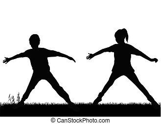黑色半面畫像, 孩子, sport.