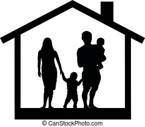 黑色半面畫像, 家庭, 插圖, 矢量, 房子, 孩子