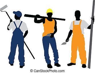 黑色半面畫像, 工人, 三