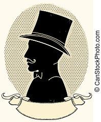 黑色半面畫像, 帽子, 臉, 矢量, 紳士, mustache.