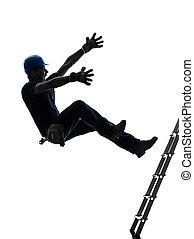 黑色半面畫像, 手冊, 落下, 工人, 人, 梯子