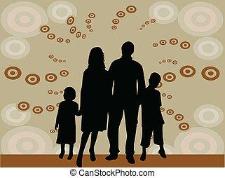 黑色半面畫像, 插圖, -, 家庭, 矢量
