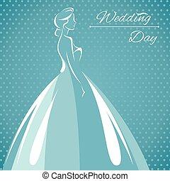 黑色半面畫像, 插圖, 新娘, 矢量, 使服裝交融