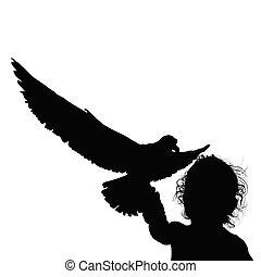 黑色半面畫像, 插圖, 黑色的孩子, 樂趣, 鳥