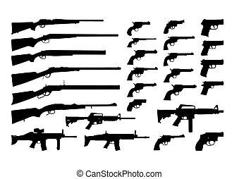黑色半面畫像, 槍, 矢量
