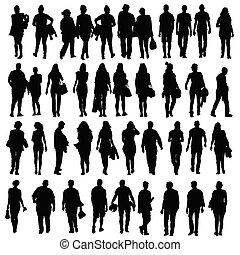 黑色半面畫像, 步行, 矢量, 黑色, 人們