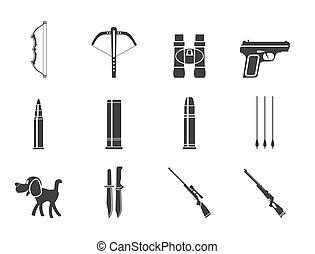黑色半面畫像, 武器, 打獵, 圖象