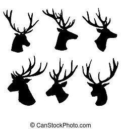 黑色半面畫像, 白色, 集合, 背景, 鹿, 頭