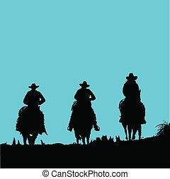 黑色半面畫像, 矢量, 三, 牛仔