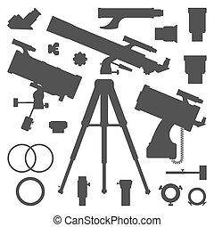 黑色半面畫像, 矢量, 彙整, 天文學望遠鏡