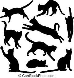 黑色半面畫像, 矢量, 彙整, 貓