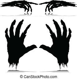 黑色半面畫像, 矢量, 怪物, 手