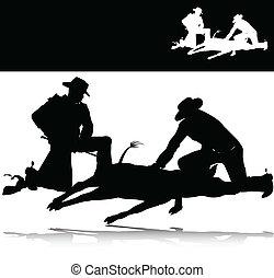 黑色半面畫像, 矢量, 打獵, 人