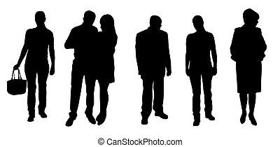 黑色半面畫像, 矢量, 插圖, 人們