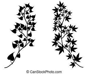 黑色半面畫像, 矢量, 樹枝, 彙整